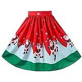Fenverk Damen Weihnachtskleid Damen Vintage Lange Ärmel Cocktailkleid Retro Spitzen Schwingen Kreuz Laceup Rockabilly Kleid Party Kleid (rot,XL)