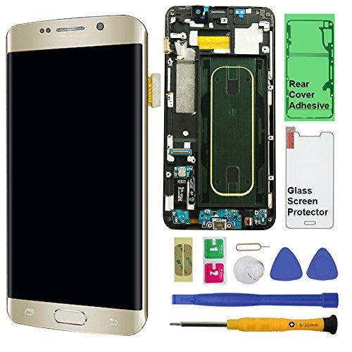 Display Touch Screen (AMOLED) Digitizer mit Rahmen für Samsung Galaxy S6Edge + (14,5cm) (für Handy Reparatur Teil Ersatz) (Gratis Reparatur Werkzeug Kits), Verizon, Gold