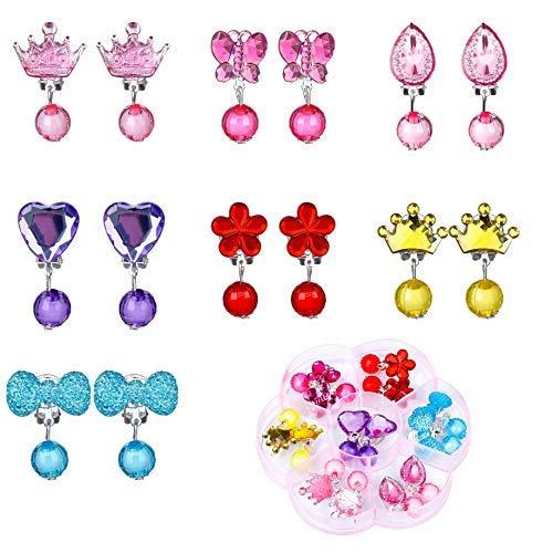MaoXinTek Ohrclip für Kinder 7 Paar Mädchen Crystal Clip auf Ohrringe Set Prinzessin Dress-up Schmuck Spielzeug Geschenk mit 1 Pink Box für Kindergeburtstag (Mädchen-prinzessin Up Dress)