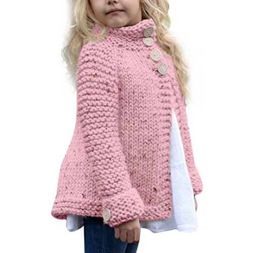 Lenfesh Mädchen Kinder Wolle Strickpullover, Winter Warm Mantel Tops (140/ 7T, Rosa)