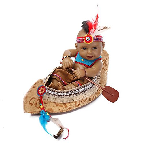 Mini Native American Indian Boy echter voller Silikon Vinyl Pflege des neugeborenen Babys Puppe mit kulturellen Kleidung Kinder Geburtstag Geschenk Portable Angst zu verringern helfen, Autismus schwangere Frauen (Hispanic Dekorationen)