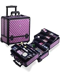 MUA LIMITED Professional Makeup Beauty Trolley, 8 Tray Makeup Artist Aluminium Case on Wheels, Cosmetic Storage Organiser, Purple Diamond Design