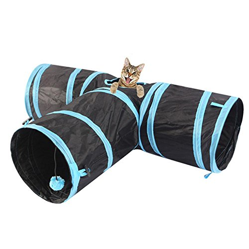 Pawaca 3 Way Cat Tunnel Spielzeug Collapsible Pet Toy Tunnel Indoor/Outdoor Verwendung für Katze, Kleiner Hund