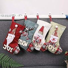 Idea Regalo - Topanke Set da 4 Camino Calza di Natale, 23cm Babbo Natale Pupazzo di Neve e Elk Calze Natalizie da Appendere Candy Sacchetti Regalo per Albero di Natale Festa di Natale Decorazioni