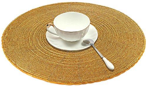 SKAVIJ Rond Napperons Or, Fait main Verre Perlé Tissé Rond Table Mats pour À manger Cuisine Table Napperons ou Chargeur Ensemble de 4, 30 cm
