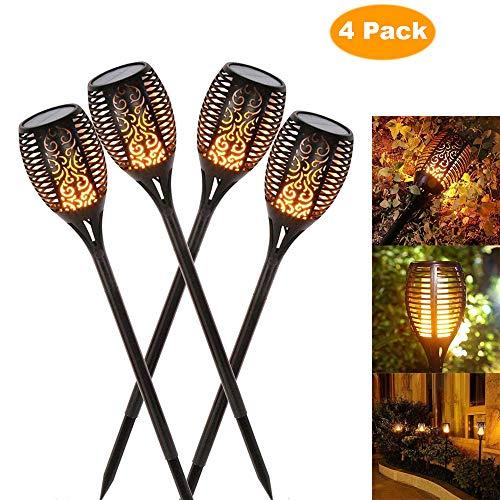 solaire de jardin en feu Torches 96 LED jusqu'à Dawn automatique un/(Capteur de lumière), Spotlight lampe de jardin lumière éclairage de jardin solaire Spotlight extérieur warmlicht étanche (4 pack)