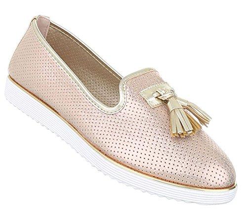 Damen Halbschuhe Schuhe Slipper Loafer Mokassins Flats Slip On Schwarz Pink Silber 36 37 38 39 40 41 Rosa