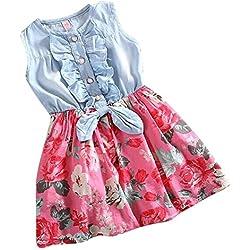 Vestido de Niña Floral Bowknot Vestido Princesa Vestido Bautizo Bebé Niñas Vestidos de Sin Manga Primavera Verano Ropa - Juleya