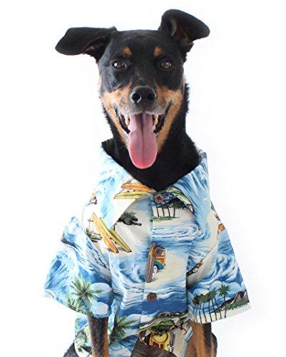 Blau Hawaiian Print Longboard BBQ Dog Shirt von Fäden, S (12-20lbs), Blue, Navy, Orange, Green, Yellow, Ivory, Brown