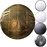 CowboyStudio 24 inch 5 in 1 Photography Studio Multi Disc Light Reflector, 5 in 1: Translucent, Silver, Gold, White, and Black