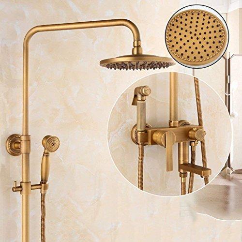 Preisvergleich Produktbild JU Duschset Duschset Duscharmatur Grün Bronze Retro Warm und Kalt Wasserhahn Dome Spritzpistole