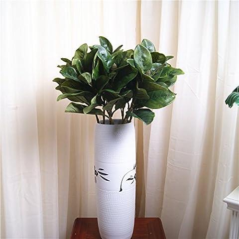 LXXJJ grande ingredienti vegetali a foglia di simulazione di seta fiori foglie di magnolia foglie verde verde foglia piante in plastica polo fiori artificiali fiore