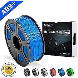 Filamentos de ABS para Impresora 3D-SUNLU Filamento de ABS azul 1.75 mm, Precisión dimensional de olor bajo +/- 0.02 mm Filamento de impresión 3D, 2.2 LBS (1KG) Filamento de impresora 3D Spool para la mayoría de las impresoras 3D y bolígrafos 3D, Azul