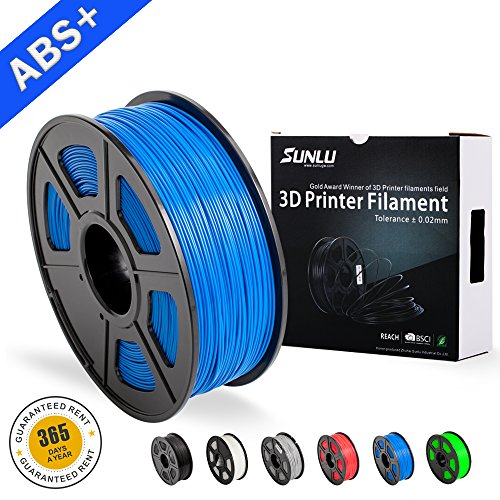 SUNLU ABS Filaments for 3D Printer-Blue ABS Filament 1.75 mm,Low Odor Dimensional Accuracy +/- 0.02 mm 3D Printing Filament,2.2 LBS (1KG) Spool 3D Printer Filament for Most 3D Printers & 3D Pens,Blue