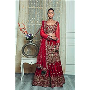 Pushp Paridhan Wedding Wear Machine with hand work Ethnic Wear Red Velvet Bridal Lahenga