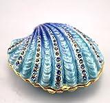 Vintage Schmuckdose Muscheldose mit Kristallen