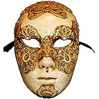 Ojos de la cara llenos venecianos de lujo amplia máscara cerrada Volto Mac II para hombres (oro)