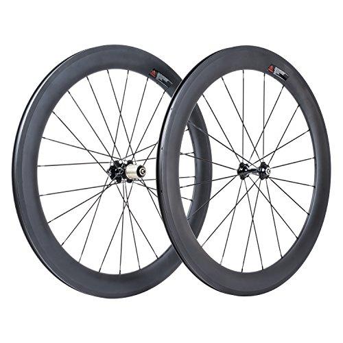VCYCLE 60mm Fibre de Carbone Vélo de Course Route Roues 700C Clincher Pneu Largeur 23mm Shimano ou...