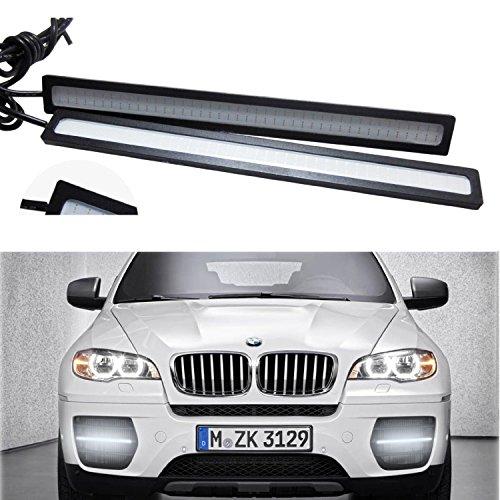 Eximtrade 2 Pezzi Impermeabile Alluminio 6W 6000K Xeno COB LED DRL Guida Luce Corrente di Giorno Lampada per Auto SUV Berlina Coupé Veicolo (Rosso, Telaio