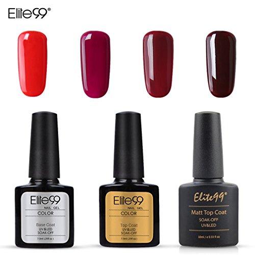 Lot Vernis Semi Permanent Elite99 4pcs Vernis Rouge avec top base coat, mat top coat, -Vernis à Ongles LED UV Soakoff Kit Manucure Nail Art 10ml-001