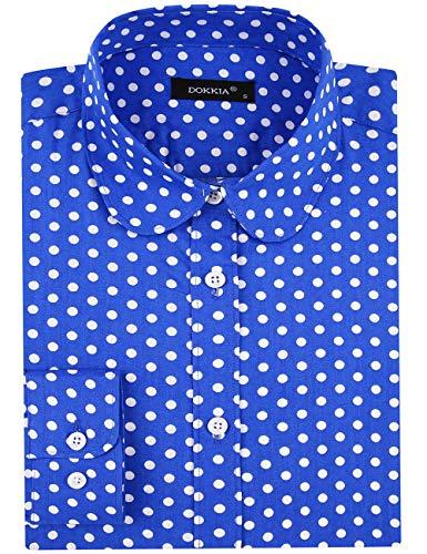 DOKKIA - Blusa de Manga Larga para Mujer, diseño de Lunares, con Botones Polka Dot Blue White M