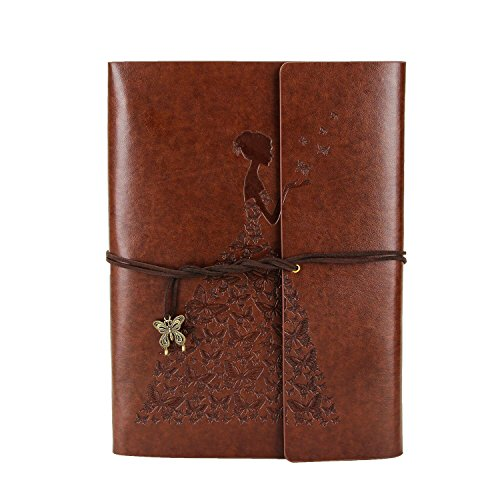XIUJUAN Scrapbook Butterfly Girl Vintage Leather Refillable Photo Album Black Pages Memory Book Near B4 Christmas Gift Valentines Birthday Wedding