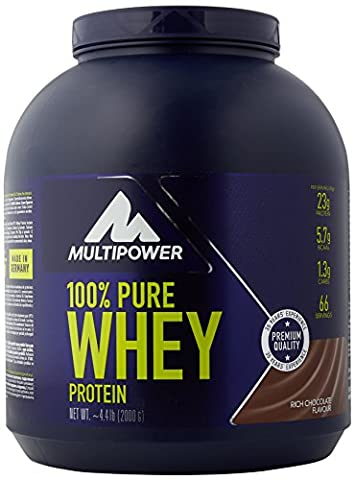 Multipower 2000 g Chocolate 100 Percent Pure Whey Protein (100% Pure L-glutammina In Polvere)