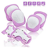 COOLGO Child Kids Protective Gear Set, Knee Pads Elbow Pads Wrist Guards 6 pcs for Multi Sports Skateboard Inline Roller Skates Cycling Biking BMX Bicycle(Small For Kids 15kgs-40kgs/33lbs-88lbs)
