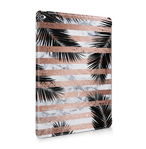 Palm Leaves Under White Marble & Rose Gold Stripes Dünne Rückschale aus Hartplastik für iPad Air 2 Tablet Hülle Schutzhülle Slim Fit Case cover (Palm Leaf White)