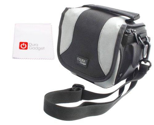 Bequeme Schultertasche (Grau-Schwarz) weiche Polsterung für POLAROID OneStep 2, Snap, Snap Touch und Pop Sofortbild Kameras - plus Putztuch