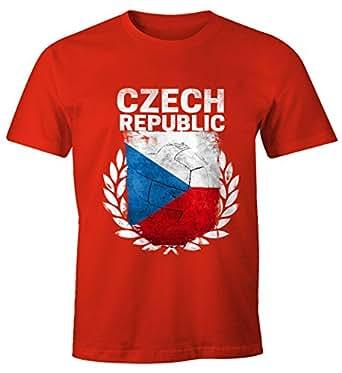 EM WM T-Shirt Herren Fußball Tschechien Flagge Vintage Czech Republic Fanshirt Fan Shirt MoonWorks®