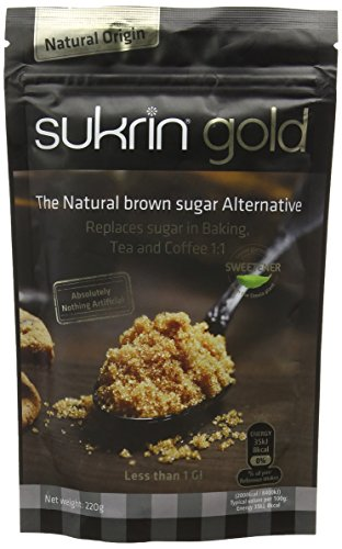 Sukrin Gold All Natural Low calorie stevia sweetener alternative to Brown Sugar with 98% less calories than sugar (220g) Test