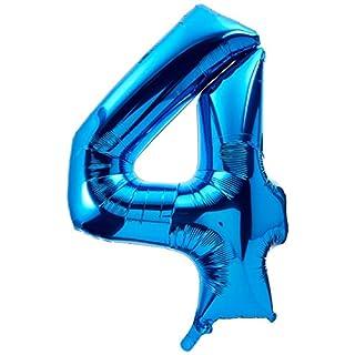 Anagram 26/ 66 x 34/ 86 cm Number 4 Super Shape Foil Balloon, Blue