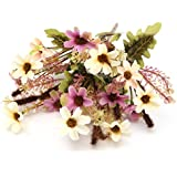KING DO WAY Bouquet Di Piccolo Margherita Fiori Finti Artificiali Piante Casa Ufficio Matrimonio Decorazione Artificial Flower-Viola Bianco