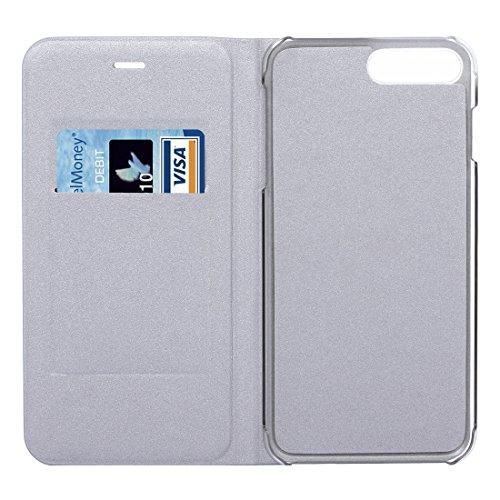 Hülle für iPhone 7 plus , Schutzhülle Für iPhone 7 Plus Litchi Textur Horizontale Flip Leder Tasche mit Card Slot ,hülle für iPhone 7 plus , case for iphone 7 plus ( Color : Dark Blue ) Silver