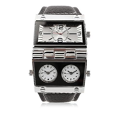 Hongboom Bande de cuir véritable de trois Mouvement Blanc montre bracelet Homme décontracté Entreprise montres à quartz analogique Mode Robe