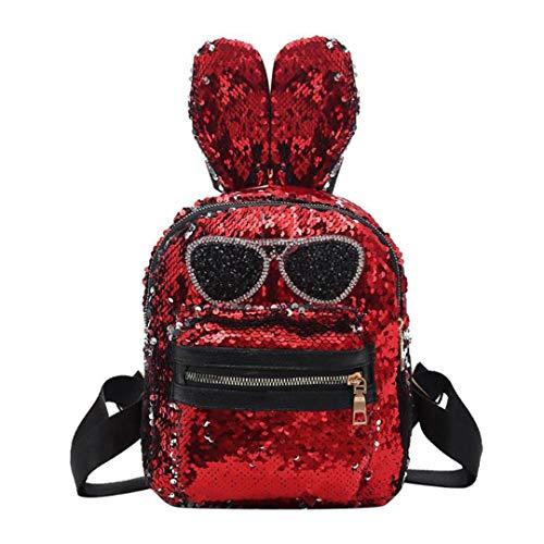 Nette Sonnenbrille Kaninchenohren Form Pailletten Rucksäcke Mädchen Teen Party Frauen Mini Rucksack Red