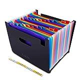 Clasificadores Carpetas de Acordeón,Carpeta de archivos de 24 bolsillos, organizador de archivos de acordeón con cinta de color Carpetas expandible para oficina de negocios, hogar