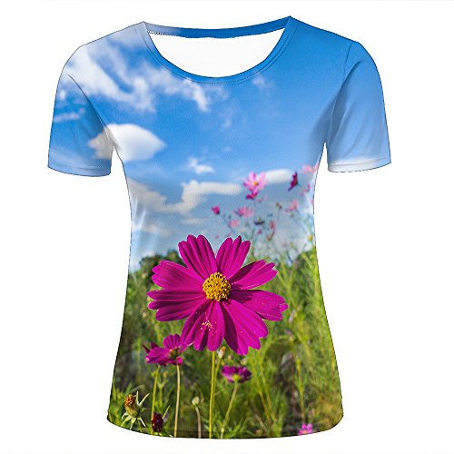 Womens 3D Printed Short Sleeve T-Shirts Sunshine Shines pink Cosmos Graphics Casual Couple Tees S