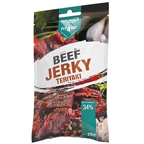 Best Body Nutrition Fit4Day Beef Jerky, 25g Beutel, BBQ (3er Pack)
