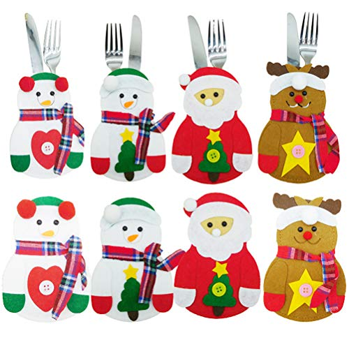 Hihey Traje de cubiertos navideños bolsos para cubiertos cubiertos cuchillos tenedores Bolsa Santa Claus muñeco de Nieve decoración de mesa Bolsa de cubiertos Fiesta de renos Regalo de Navidad