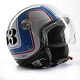 Casco de Moto Casco Jet Roller cmx Cafe Racer 53Blanco/Azul/Rojo