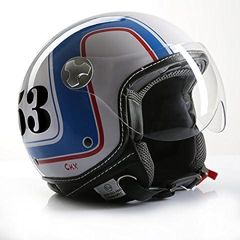 Casque moto jet cafe racer rollerhelm cMX 53 blanc/bleu/rouge-taille