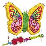 PartyMarty Pinata-Set: Schmetterling Pinata + Schläger + Maske GmbH® für den Kindergeburtstag, Kinder-Feiern, Geburtstage, Schmetterling, Frühling