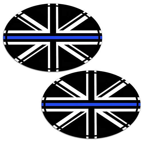 2 Stück Vinyl Grossbritannien England UK Thin Blue Line Dünne Blau Linie Aufkleber Autoaufkleber Stickers Auto Moto Motorrad Fahrrad Helm Fenster Tuning B 240
