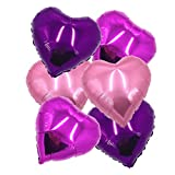 ballonfritz® Herz-Luftballon-Set in Rosegold / Violett / Rosa 6-TLG. - XXL 24