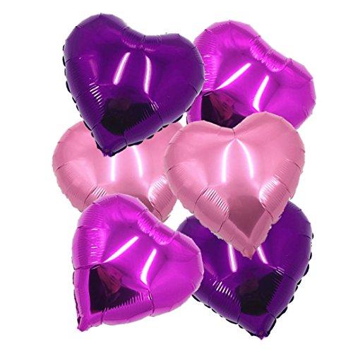 """ballonfritz® Herz-Luftballon-Set in Rosegold / Violett / Rosa 6-TLG. - XXL 24"""" Folienballon-Set als Hochzeit Deko, Geschenk oder Liebes-Überraschung zum Valentinstag"""