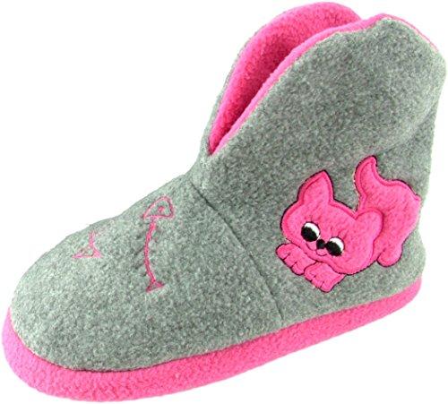 Kinder Hausschuh Hüttenschuh - hohe Hausschuhe mit rutschfester Sohle - Katzenmuster Pink