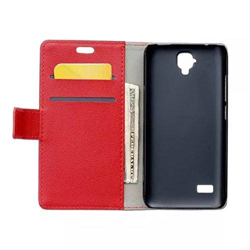 Solid Color Kas Textur Muster Leder Schutzhülle Case Horizontal Flip Standplatz Fall mit Kartensteckplätze für Huawei Y560 Y5 ( Color : White , Size : Huawei Y560 Y5 ) Red