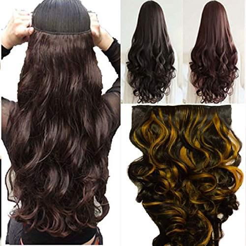 "Artifice 5 Clips Curly/Wavy Hair Extension High Temperature Synthetic Fiber 26"" 120g Golden Highlighted"